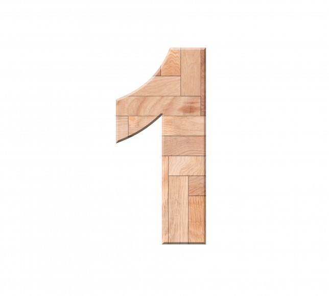 Wooden parquet of digit one symbol - 1. Isolated on white background