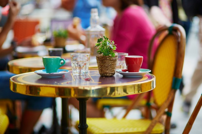 Coffee cups in an outdoor Parisian cafe
